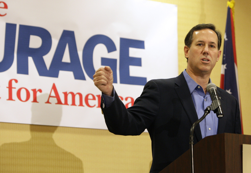 Republican presidential candidate and former U.S. Sen. Rick Santorum speaks during a Tea Party rally February 18, 2012 in Columbus, Ohio.