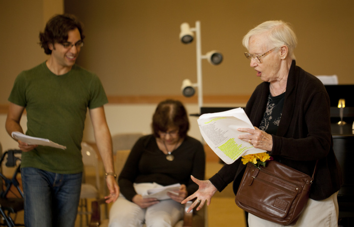 (L-R) Ben Steinfeld, Lynette Loose and Charlotte Fairchild rehearse