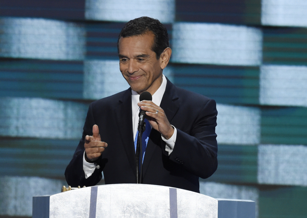 Former Los Angeles mayor Antonio Villaraigosa addresses delegates on the fourth and final day of the Democratic National Convention.