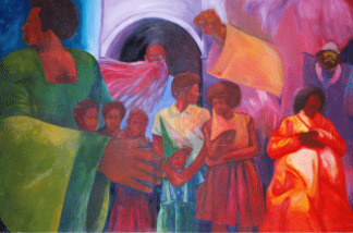 The Ralph J. Bunche Center for African American Studies mural.