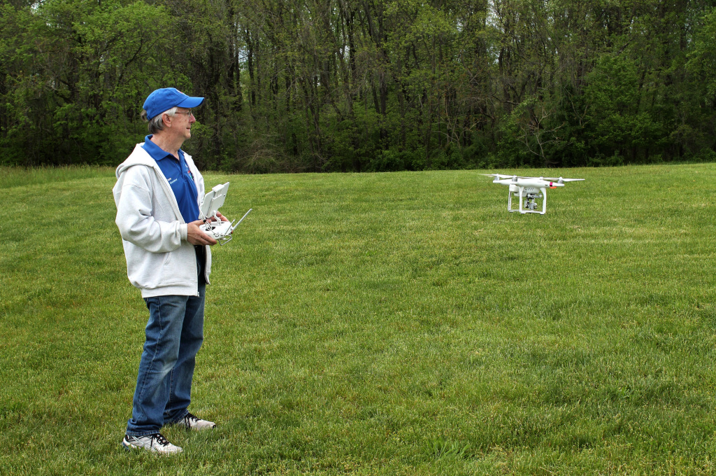 Thomas Pfarr is a long-time aircraft modeler, but also flies this DJI Phantom quadcopter to take photos.