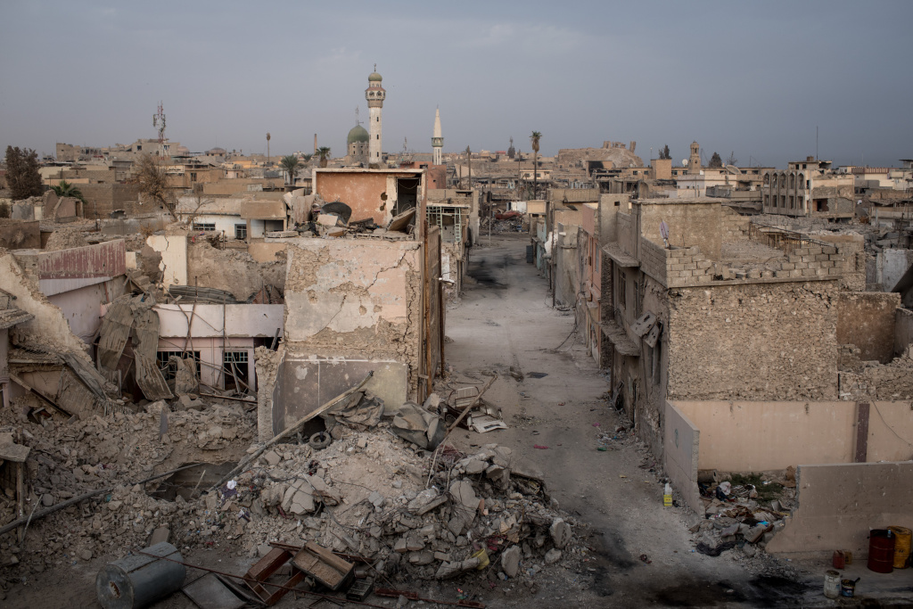 Destroyed buildings are seen on November 6, 2017 in Mosul, Iraq.