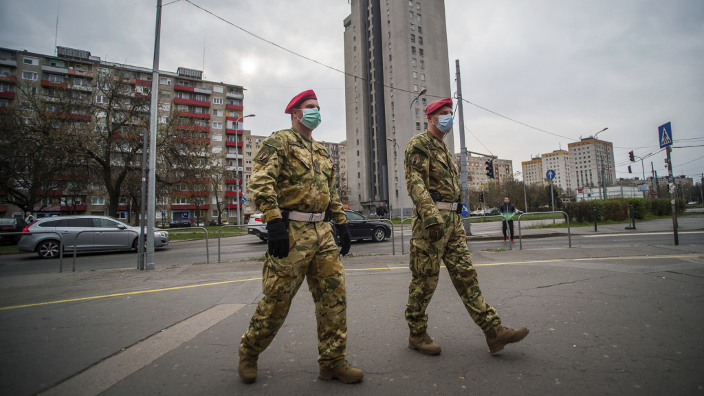 Military police patrol the streets in Budapest on Monday.