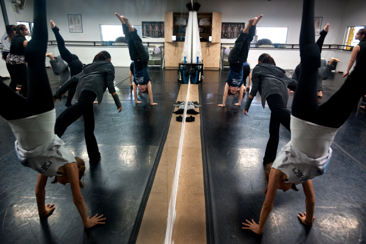 Dance Advisor Sarri Sanchez leads a mixed-grade dance class on Tuesday, May 7 at Renaissance Arts Academy in Eagle Rock. The charter school has 350 students ranging from sixth to 12th grades.