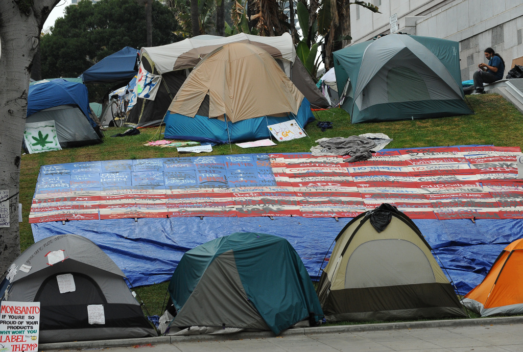 A demonstrator sits outside a tent at the Occupy LA encampment in front of Los Angeles City Hall October 25, 2011. Demonstrators at the encampment are protesting bank bailouts, foreclosures and high unemployment.