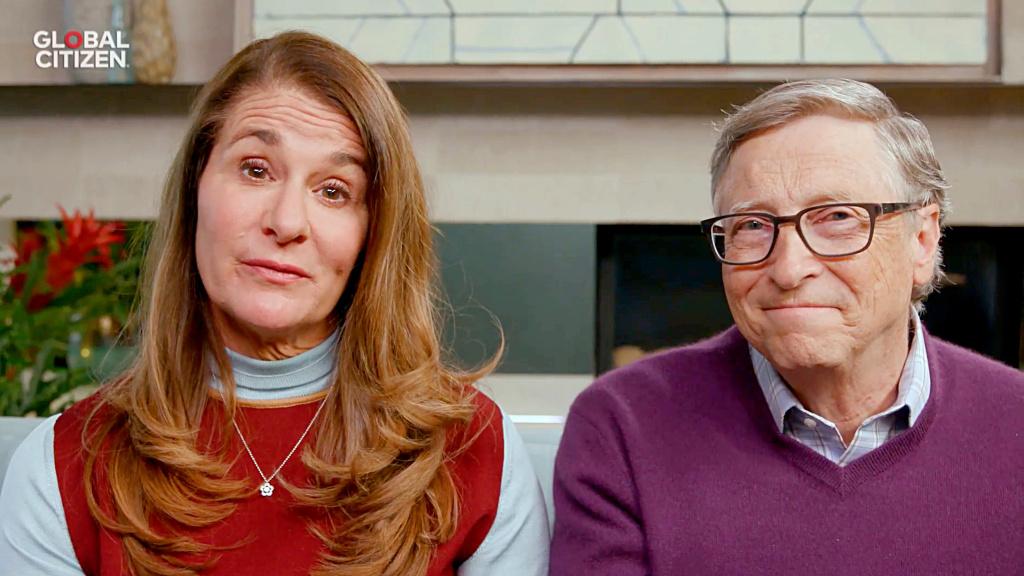 In this screengrab, Melinda Gates and Bill Gates speak during
