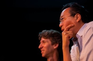 Cellist Yo-Yo Ma and dancer Damian Woetzel watch a class exercise during a performance for students at Inner City Arts in downtown Los Angeles on April 5, 2011.