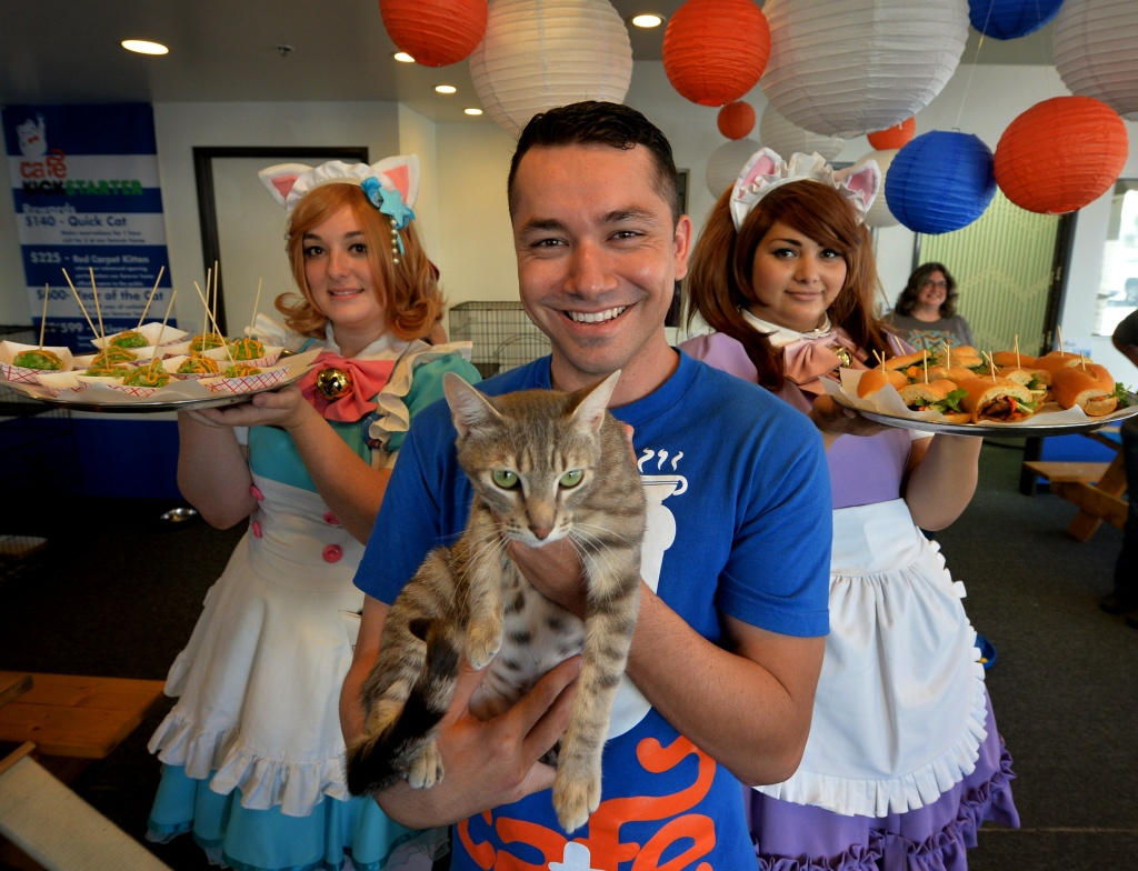 Businessman Carlos Wong with his staff and Simone the cat during the kickstarter opening of the Catfe (Cat Cafe) in Chinatown, Los Angeles on October 2, 2014.
