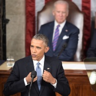 President Barack Obama delivers the State of the Union address at the U.S. Capitol in Washington, D.C. on January 20, 2015. Obama gave relatively little mention to immigration during this year's address, despite the political battle now surrounding his recent executive order.