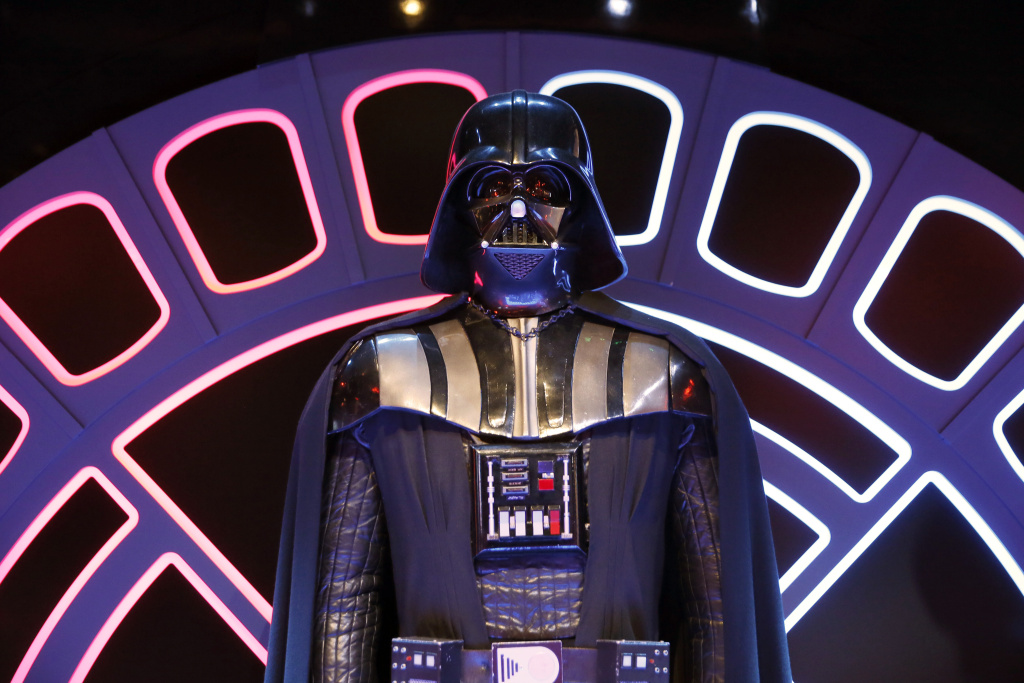 File: A Darth Vader costume from the Star Wars film series is displayed during the presentation of the exhibition 'Star Wars Identities' at the Cite du Cinema in Saint-Denis, outside Paris, on Feb. 13, 2014.