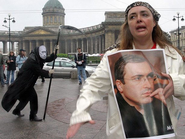 Opposition activists in Saint Petersburg held a mock funeral for Russian justice when oil magnate Mikhail Khodorkovsky was sentenced in 2005.