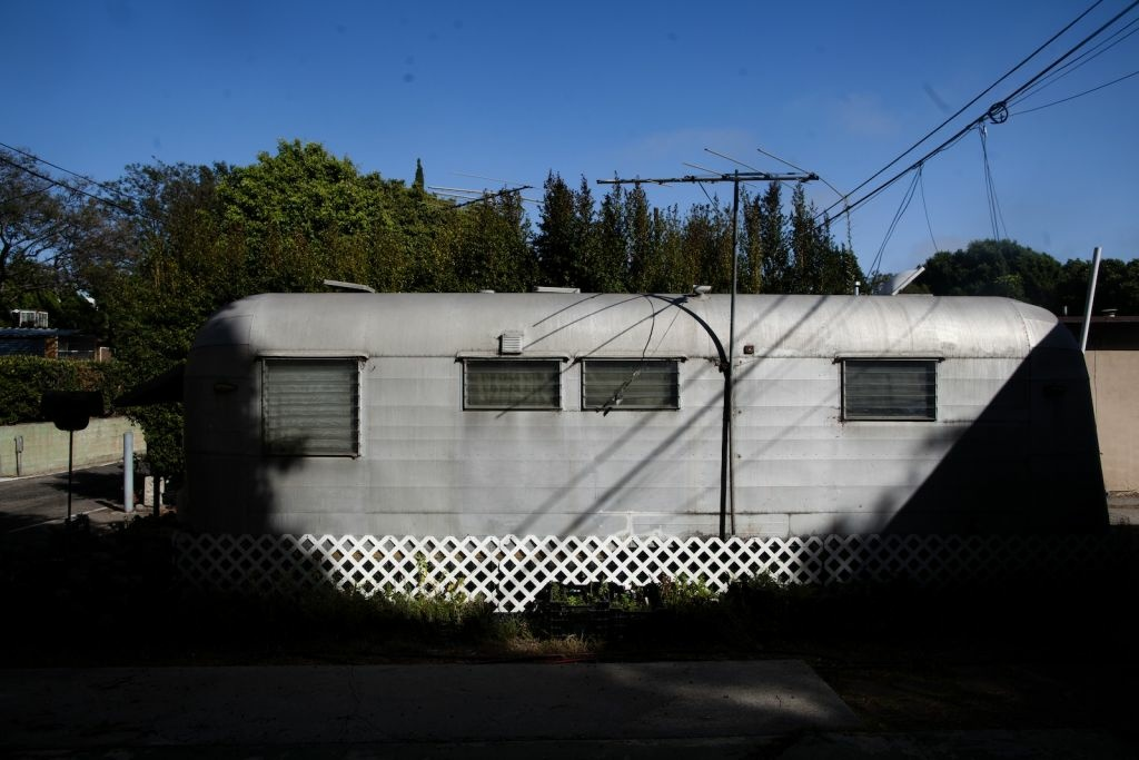 A trailer in Santa Monica's Village Trailer Park. Some trailers in the park are newer but most date back decades.