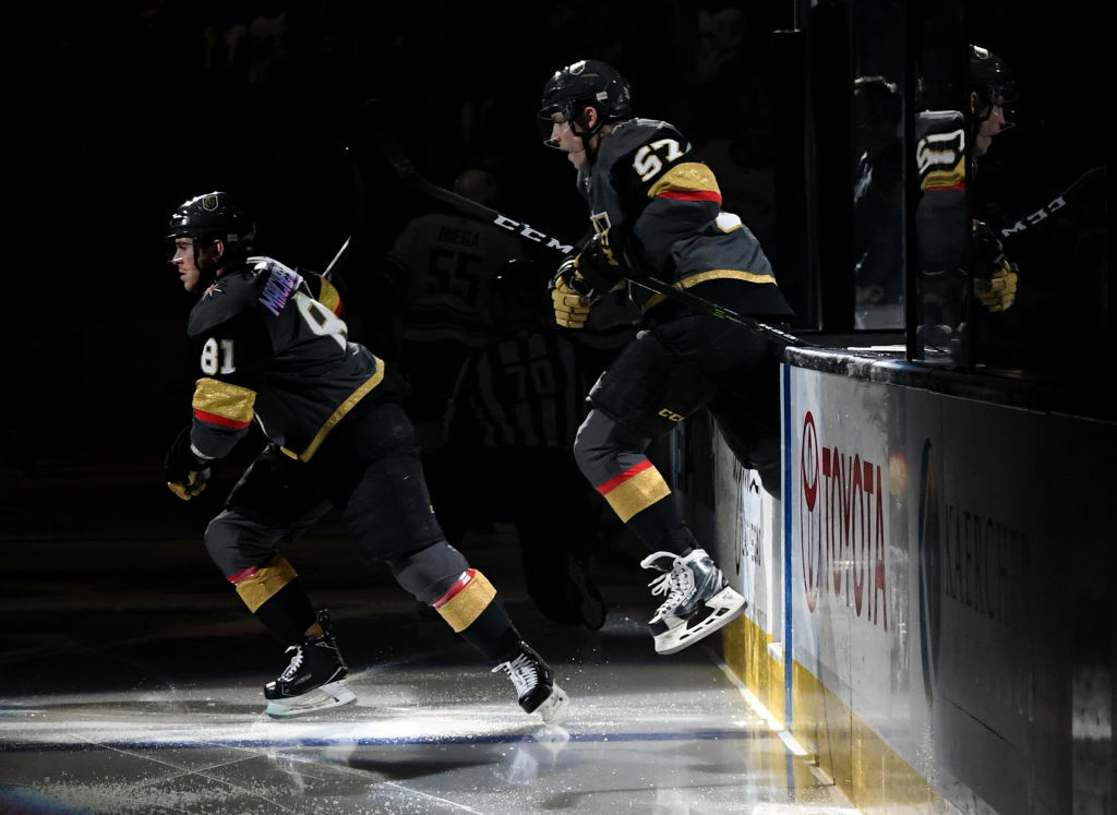 Jonathan Marchessault #81 and David Perron #57 of the Vegas Golden Knights step onto the ice for a game against the Vancouver Canucks at T-Mobile Arena on March 20, 2018 in Las Vegas, Nevada.