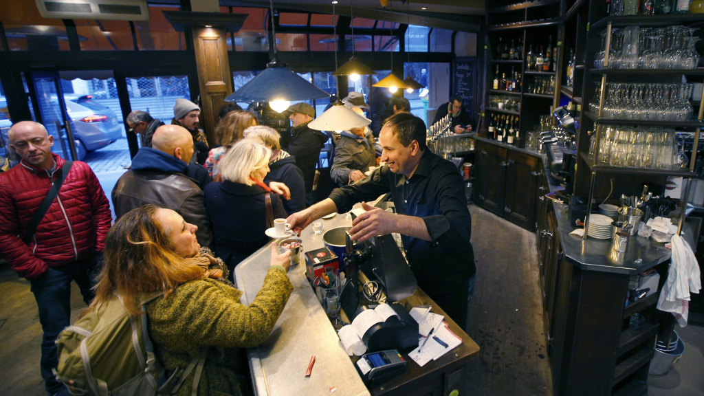 Customers turned out Friday at the Bonne Biere cafe, reportedly the first Paris cafe that was attacked to reopen.