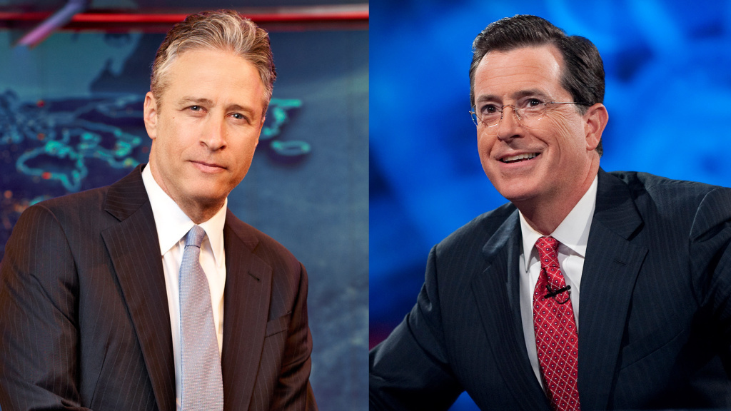 Jon Stewart (from left) and Stephen Colbert hosted live editions of their programs,