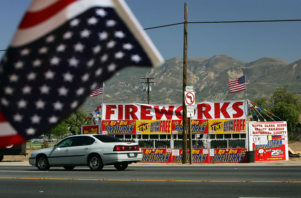 A fireworks stand, one of about 25 booths that are open for business, advertises on the first day of fireworks sales for Fourth of July celebrations June 28, 2005 in Fillmore, California.