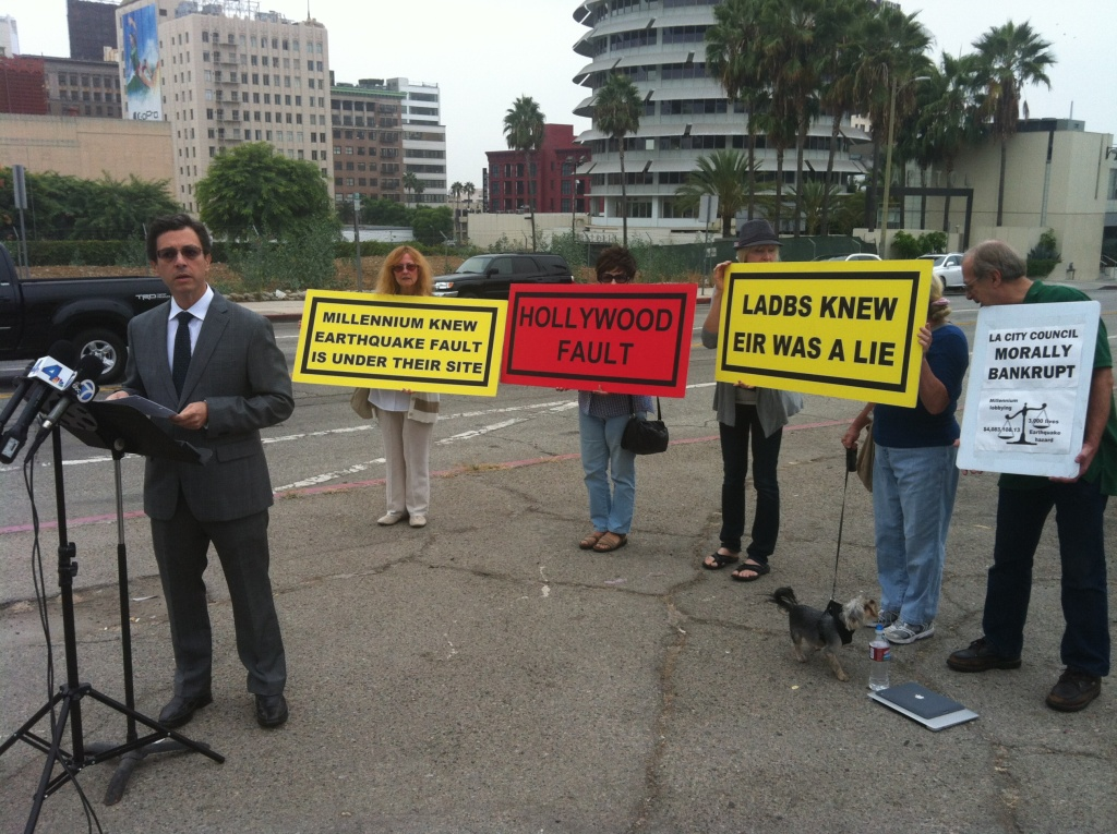 Robert Silverstein, attorney for opponents of the Millennium project, holds a news conference near Argyle and Yucca Streets in Hollywood.