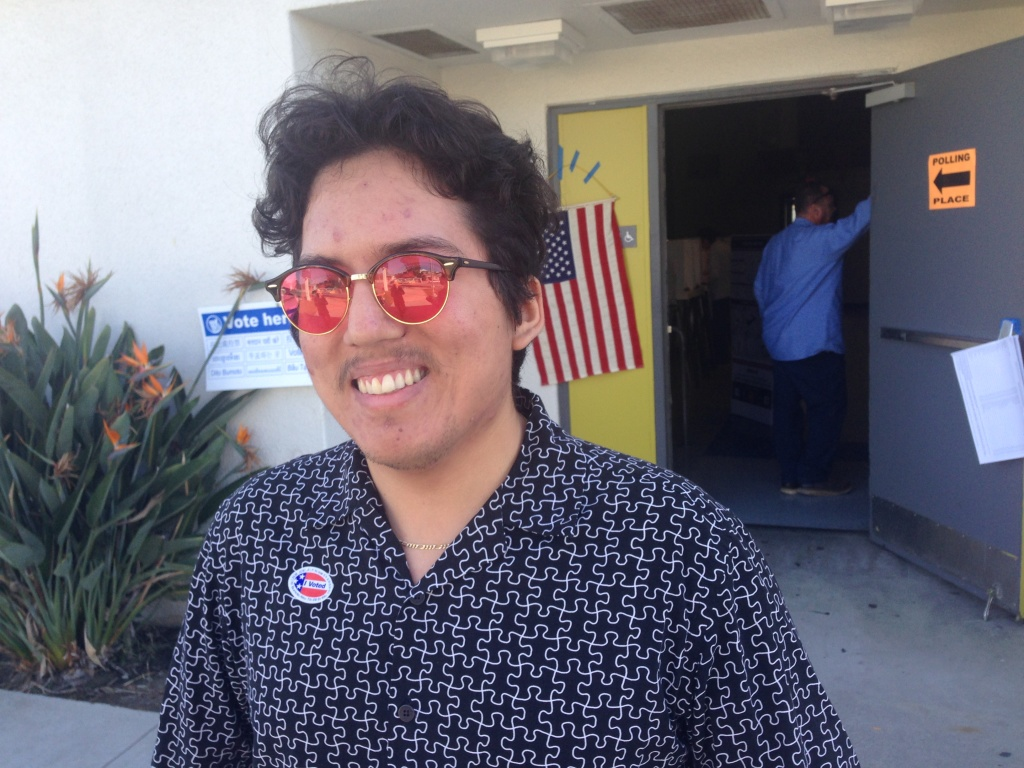 El Monte voter Allen Bernard Cabanillas, 21, turned out Tuesday for his first-ever presidential election.