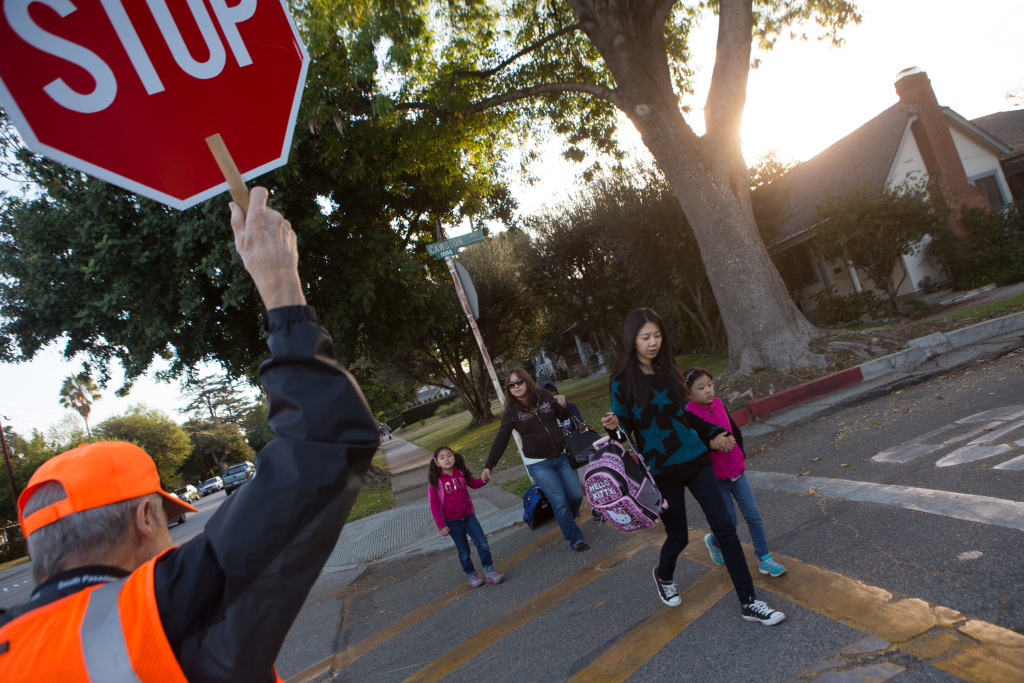 File: Crossing guard Tony Abdalla ensures children's safety outside of Arroyo Vista Elementary School in South Pasadena.