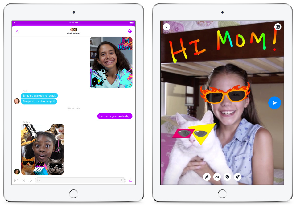 The new Facebook Messenger for kids includes a library of curated family-friendly GIFs, frames, stickers, masks and drawing tools.