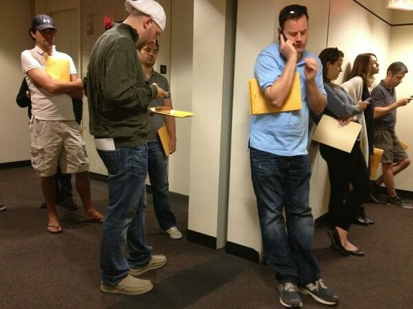 Applicants for California's Film and TV Tax Credit wait to turn in their packets at the CA Film Commission offices on Hollywood Boulevard.