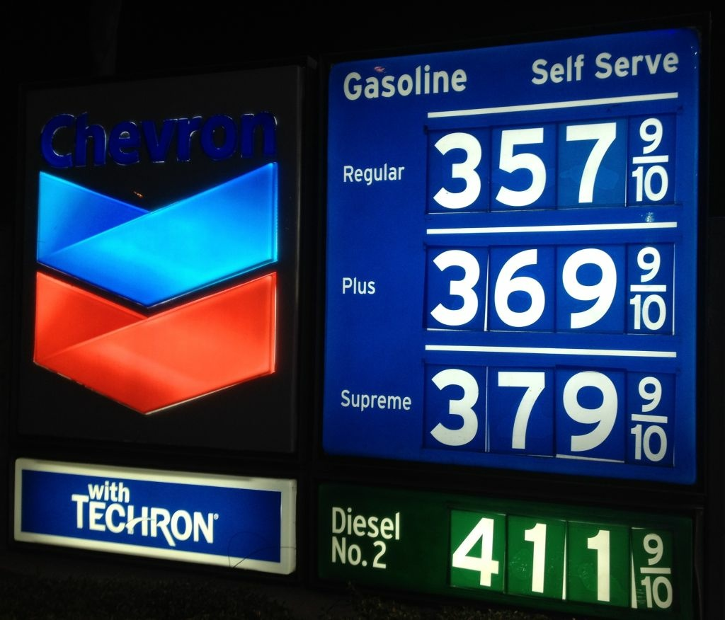 Gasoline prices at this Newport Beach station reflect the continued decline since record high was set in October 2012.