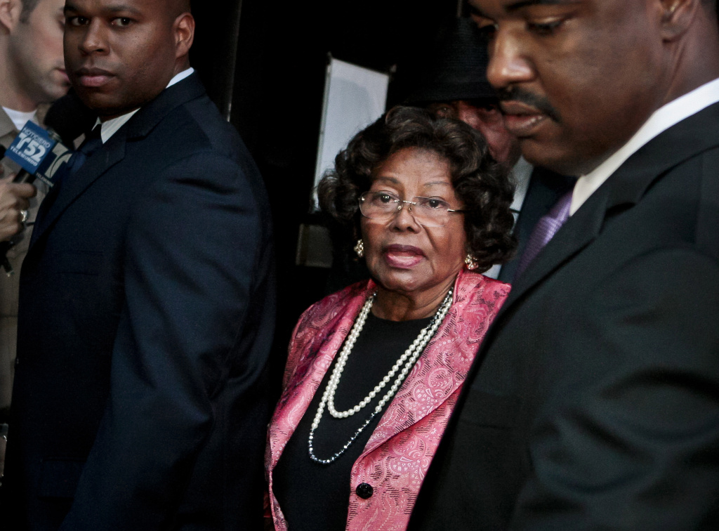 In this Nov. 7, 2011 file photo, Michael Jackson's mother Katherine Jackson leaves the Criminal Justice Center. During the 2013 negligent hiring trial in Los Angeles between Michael Jackson's mother, Katherine Jackson, and concert giant AEG Live, Jackson's mother wants a jury to determine that the promoter of Jackson's planned comeback concerts didn't properly investigate Murray, who a criminal jury convicted of involuntary manslaughter for Jackson's June 2009 death.