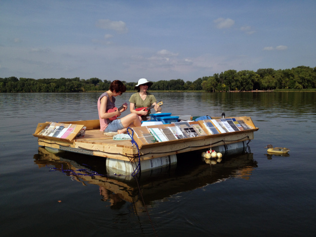 The Floating Library got its start in Minneapolis. Its creator, Sarah Peters teamed up with Machine Project to bring it to Echo Park Lake in L.A.