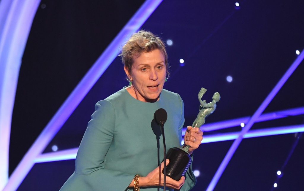 Frances McDormand receives the award for Outstanding Performance by a Female Actor in a Leading Role during the 24th Annual Screen Actors Guild Awards show at The Shrine Auditorium on January 21, 2018 in Los Angeles, California.