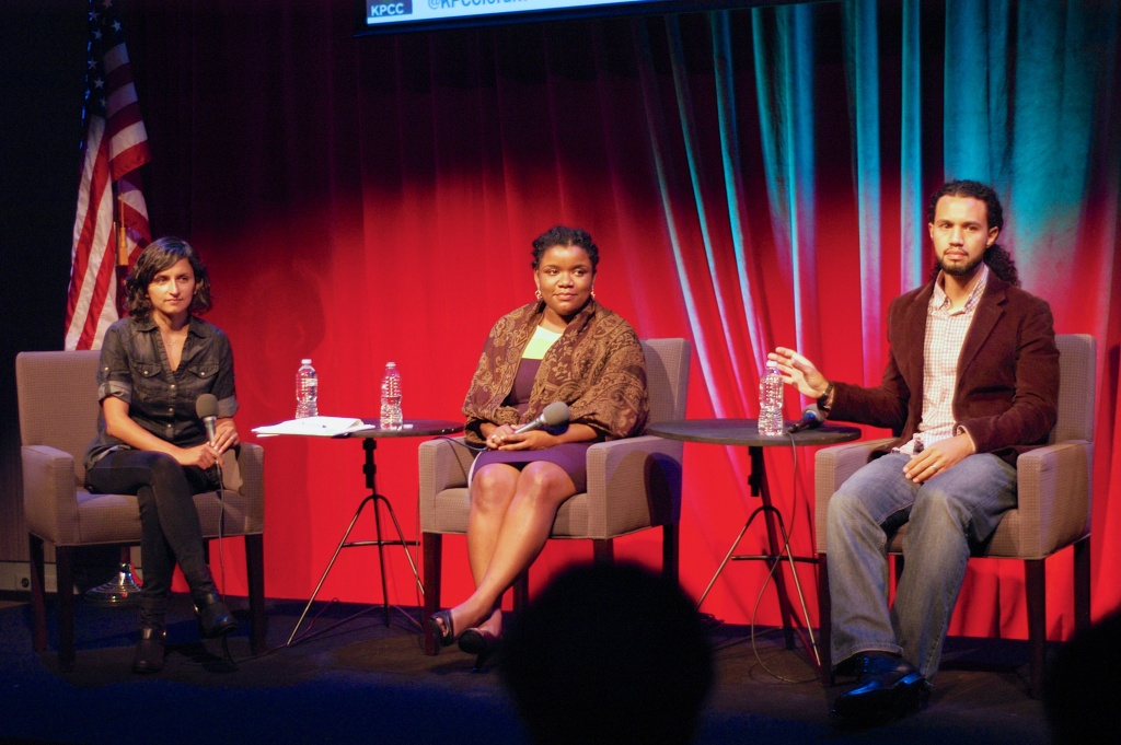 KPCC's crime and safety reporter Rina Palta moderating panel with Jamecca Marshall, Policy Manager for Urban Peace, Advancement Project California, and Daniel Castillo, Urban Scholars/BMYA Program Manager, Social Justice Learning Institute.