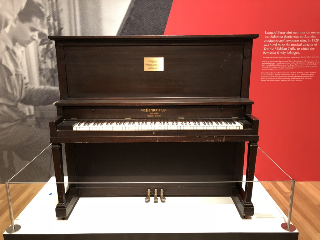 The piano (borrowed from Brandeis University) on which Bernstein learned to play and cultivated his love of music.
