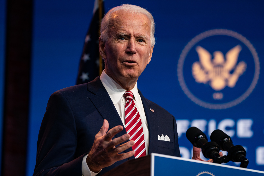 President-elect Joe Biden delivers remarks Monday in Wilmington, Del.