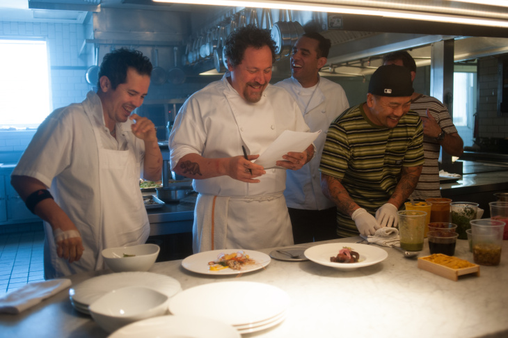 Behind-the-scenes of CHEF, written by, directed by, and starring Jon Favreau, opening May 2014. (L to R) John Leguizamo, Jon Favreau, Bobby Cannavale, and chef Roy Choi, who served as a technical consultant to the production.