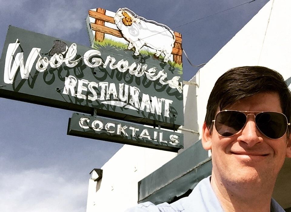 Off-Ramp host John Rabe outside the Wool Growers Basque restaurant in Bakersfield, California