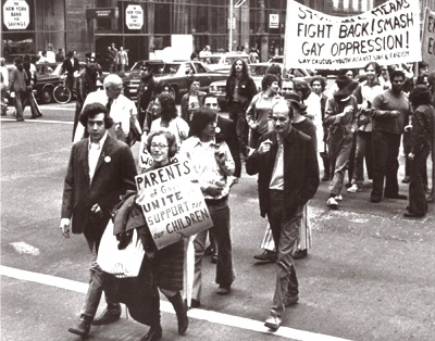 Jeanne and Morty Manford marching in a 1972 gay rights parade in New York City