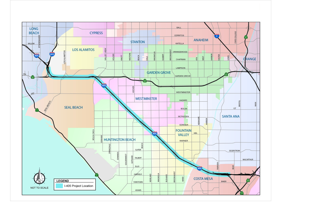 This is a picture of the study area map for the 16-mile expansion of the I-405 freeway in Orange County that will add one toll lane and one general purpose or free lane.