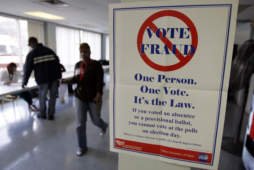 A voter fraud sign is seen at Lupica Towers November 4, 2008  in Cleveland, Ohio. A new Gallup poll revealed more than half of Republicans are convinced voter fraud is a serious problem.