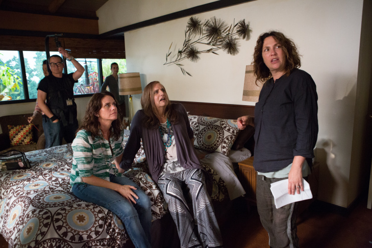 (L-R) Amy Landecker, Jeffrey Tambor and Jill Soloway with crew on set of 'Transparent'