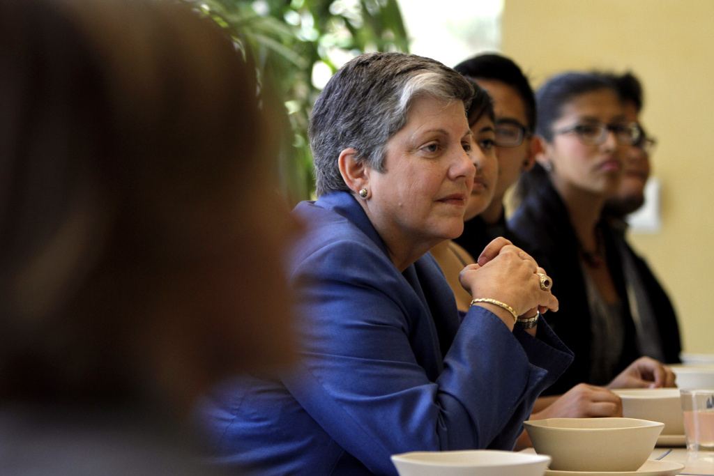 University of California President Janet Napolitano has lunch at the Bruin Plate with students at UCLA October 11, 2013 in Westwood, California. Napolitano was expected Wednesday to give a public statement at her second UC Regents meeting