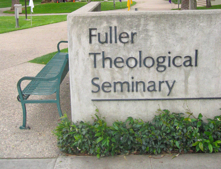 Sign on the campus of Fuller Theological Seminary in Pasadena, Ca.