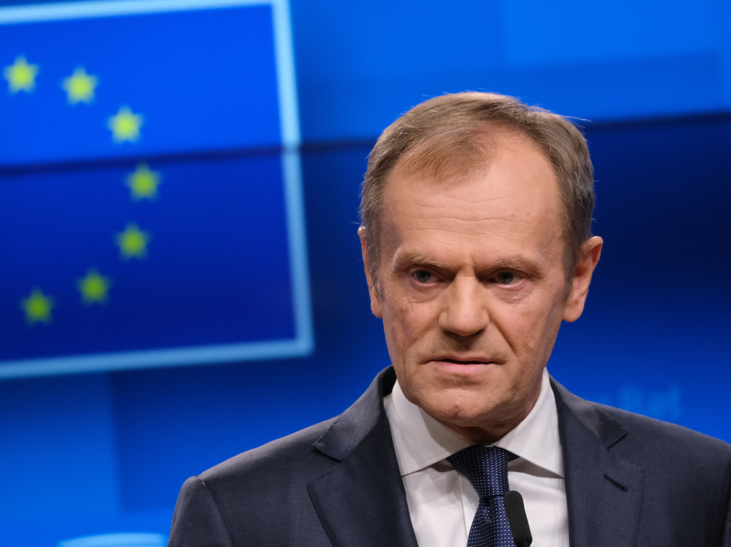 Donald Tusk, president of the European Council, speaks to reporters on Wednesday in Brussels. He told British Prime Minister Theresa May that an extension for withdrawal from the EU is possible, but with a caveat.