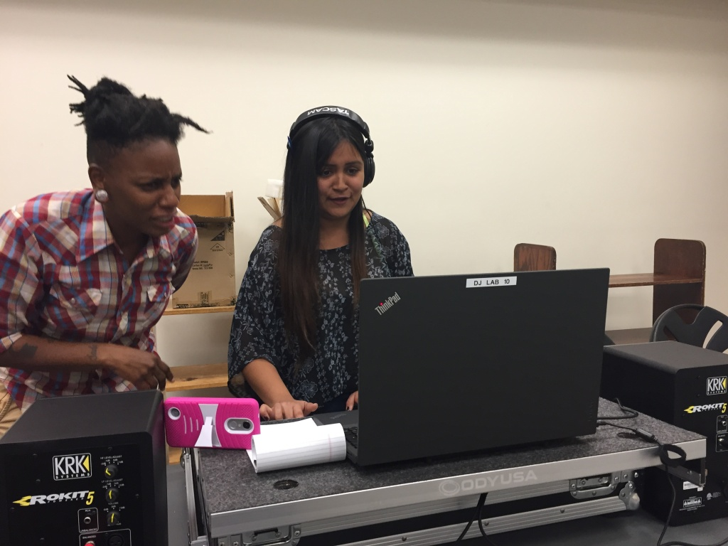 DJ Daydreams a.k.a. 19-year-old Isabel Cisneros receives guidances from instructor DJ Lynée Denise.