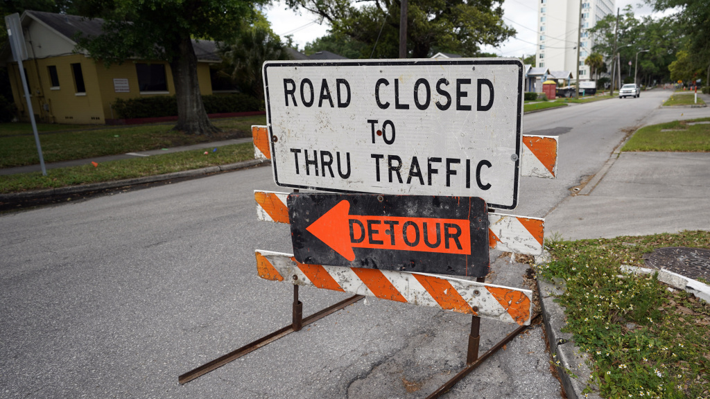 A city street is closed for repairs and upgrades in Orlando, Fla. As part of an infrastructure proposal by the Biden administration, $115 billion is earmarked to modernize bridges, highways and roads.