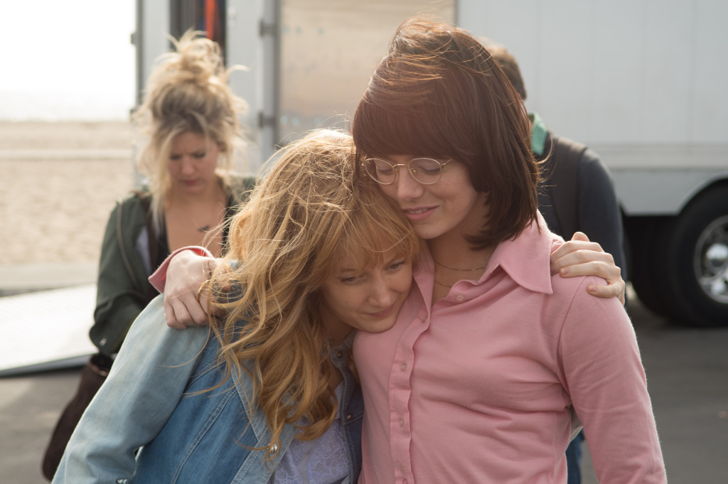 Andrea Riseborough and Emma Stone in the film