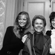 Eileen Ford, center, winner of the Woman of the Year In Advertising 1983 award smiles with two of her famous models Cheryl Tiegs, left, and Christina Ferrare, in New York. Ford died on Wednesday at age 92.