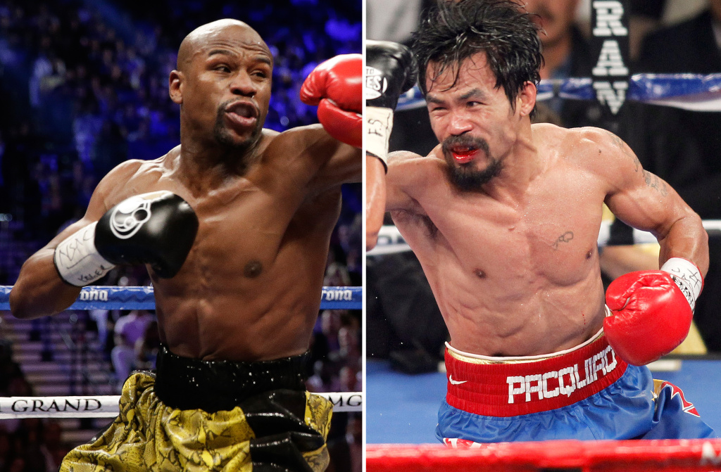 FILE - At left, in a May 4, 2013, file photo, Floyd Mayweather Jr. exchanges punches with Robert Guerrero (not shown) in a WBC welterweight title fight in Las Vegas. At right, in a Nov. 12, 2011, file photo, Manny Pacquiao exchanges punches with  Juan Manuel Marquez (not shown) during a WBO welterweight title fight in Las Vegas. Don't expect to snag a $1,500 nosebleed ticket _ or any other ticket _ at the box office for the fight between Floyd Mayweather Jr. and Manny Pacquiao. Just two weeks before the bout, tickets for the most anticipated fight in recent times have yet to go on public sale, with the two camps and the MGM Grand locked in a standoff over allotments. (AP Photo/Isaac Brekken, File)