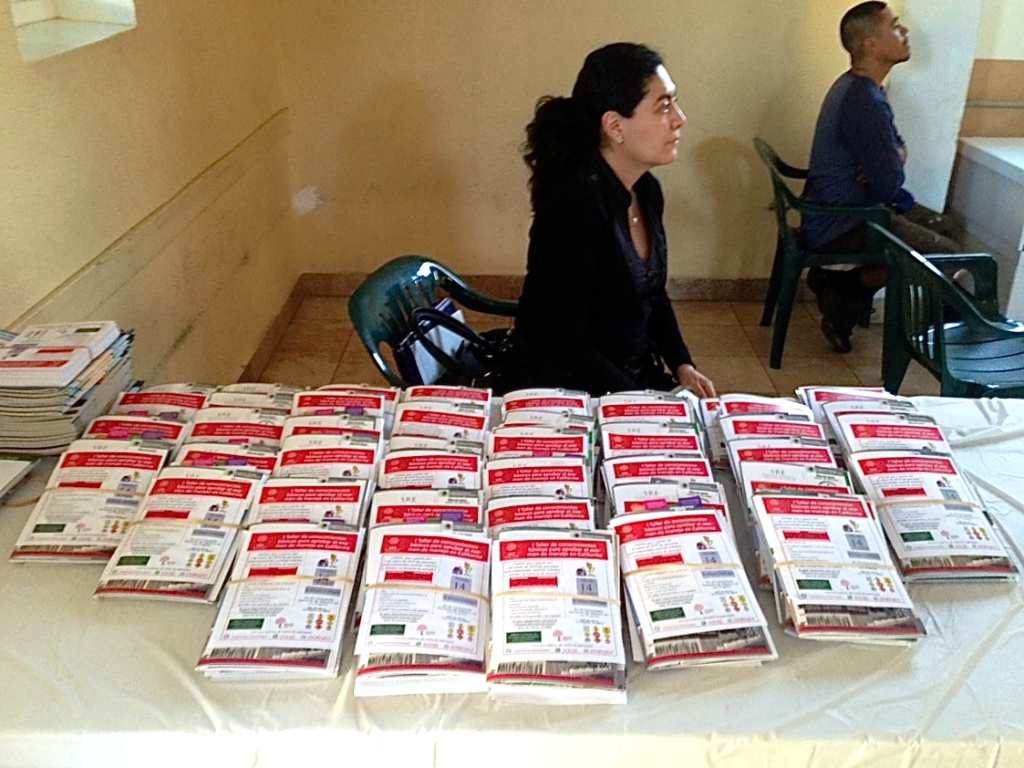 In this file photo, Georgina Marina of the Mexican consulate hands out study materials for the driver's license exam. The California DMV planned to take public comment Tuesday in Los Angeles on the documents required to prove identity and state residency for new licenses that would be issued to drivers who cannot prove their legal presence in the U.S.