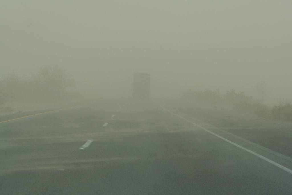 Sand storms are nothing new in Southern California. This photo depicts one in Riverside in 2007.