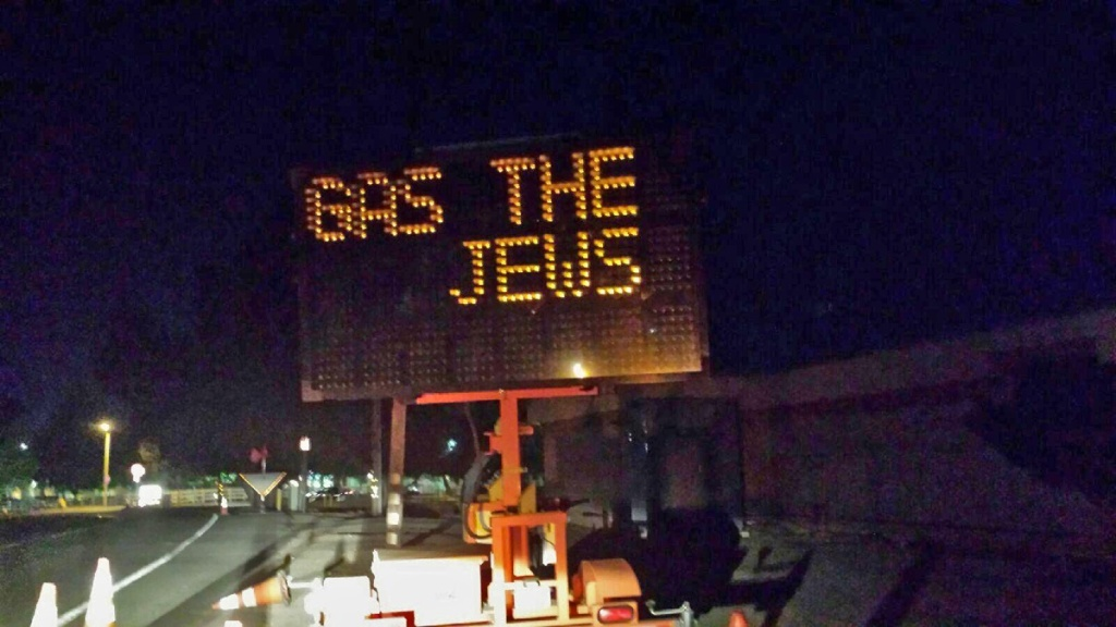 In October 2016, an electronic road construction sign near Agoura Hills was hacked and altered to read
