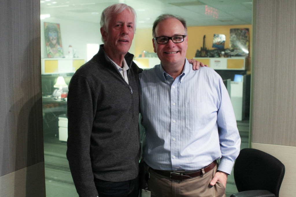 Director Michael Apted (L) with Larry Mantle in the AirTalk studio.